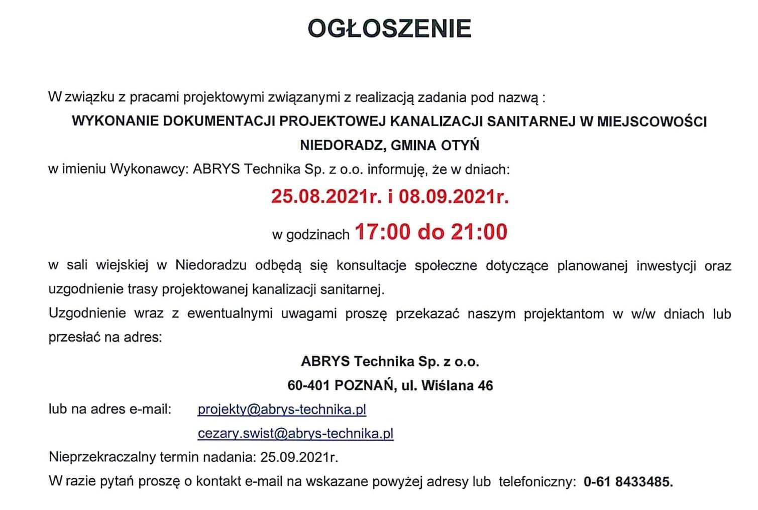Ilustracja do informacji: Konsultacje ws. kanalizacji w Niedoradzu